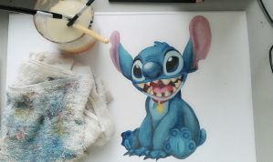 Stitch Water Color Painting by ElaineyYong