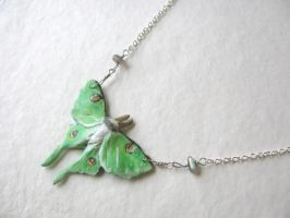 Luna Moth Necklace by life--in-technicolor