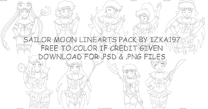 Free to color Sailor Moon Linearts Pack by izka197