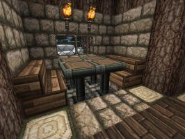 Minecraft Family Cabin Dinner Table by lilgamerboy14