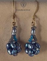 Blue cube earrings E531 by Fleur-de-Irk