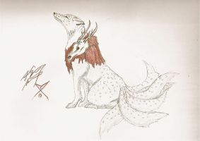 Seis, the six tailed wolf... by Kiode
