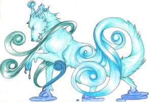 Elemental Wolves Water or Ice by Sylvirr