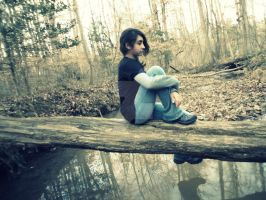 Me Sitten' on a Log by hourglass-paperboats