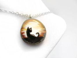 Black Cat, Sunset Pendant Necklace by sobeyondthis