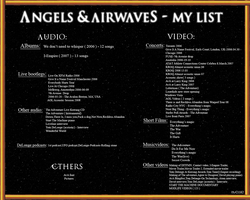 my angels and airwaves list by TheBigRedMonster