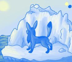 blue and yellow glaceon by cherrybubblegum