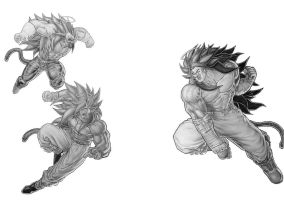 Goku and Vegeta vs Okura SSJ4's by TicoDrawing