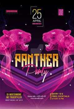 Club party. Panther Night flyer and poster. by iorkdesign