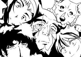 black and white Cowboy Bebop by taikun21
