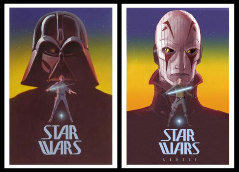 Vintage Style McQuarrie Rebels Poster 2 Comparison by Brian-Snook