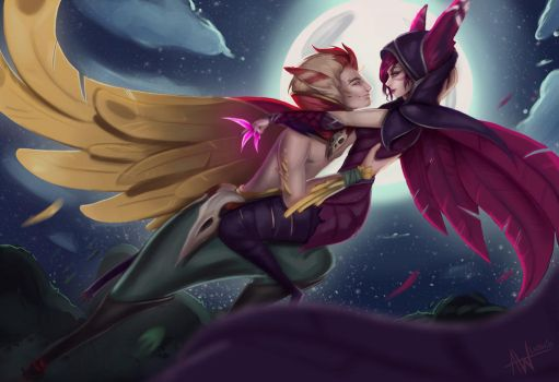 Xayah and Rakan by Lushies-Art