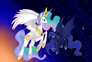 ::Princess Celestia and Luna:: by yuureiburu