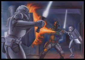 Star Wars Galaxy 5 Card Stormtroopers Boba Fett by DavidRabbitte