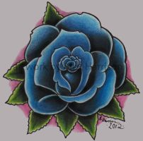 Blue rose tattoo design by Genocide-Al