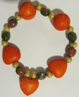 unakite and orange bracelet by AnaInTheStars