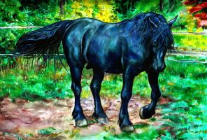 Black Horse painting by MrTuke