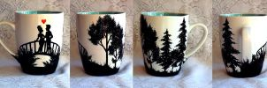 Lovers Silhouette Mug by AucoinArt