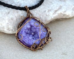Amethyst druzy wire wrapped pendant by IanirasArtifacts