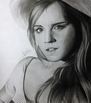 Emma Watson - Black'n'White drawing by AjoslaF