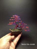 Red and purple wire bonsai tree by Ken To by KenToArt