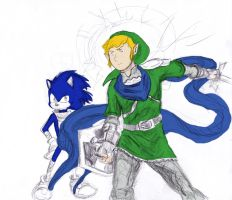 Sonic and Link color - WIP by joshthecartoonguy