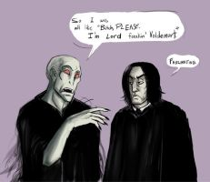 Voldie and Snape talk by peachiekeenie