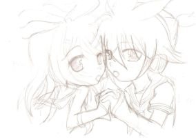 Rin and len sketch by BLEEDFan95