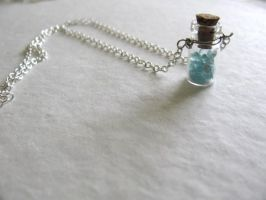 Blue Apatite Glass Bottle Necklace by life--in-technicolor