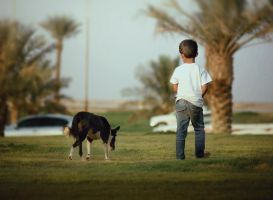 Boy with Dog by 3liah