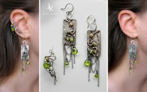 Silver earrings and ear cuff Rain In Bamboo Grove by JSjewelry