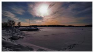 A Boat Harbour in Winter by Pajunen