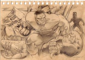"Hulk sketch: ""Two down..."" by MichaelCrutchfield"