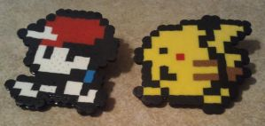 Ash and Pikachu Perler bead pins by ScraggyCrafts