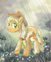Applejack in the Rain by lotothetrickster