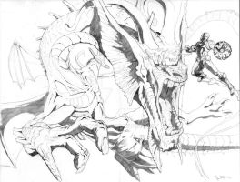 Fin Fang Foom vs. Iron Man by TGping