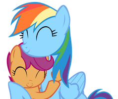 Rainbow Dash and Scootaloo - Hug by Maxis122