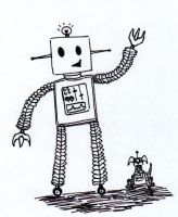 Happy Robot Quick Sketch by MelodyoftheNightFury