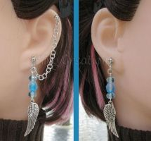 Blue and Silver Wing Earrings by merigreenleaf