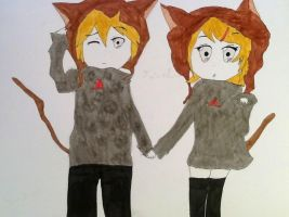 Rin and Len~ Cat Ears! by LuLuBellaCalista