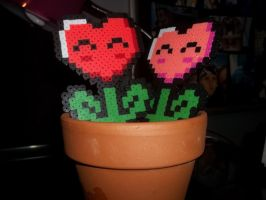 Valentine's Day Mario Flower Perlers by Libbyseay