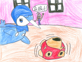 Piplup Vs. Shuckle by Hannah-Needle