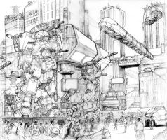 RIFTS NG Downtown City Giant Robot Plaza scene by ChuckWalton