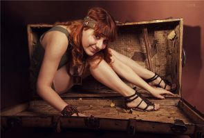 The girl from a small suitcase by BirdSophieBlack