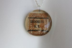 Brooklyn Vintage Stamp Pendant by BlueSpecsStudio