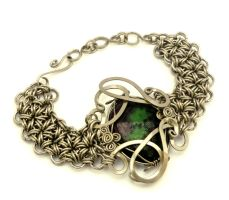 Wire Wrap Chainmaille Bracelet with Ruby Zoisite by hyppiechic