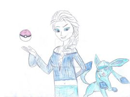 Gym Leader Elsa and her Glaceon by WinterMoon95