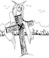 upon the cross - b and w by r3an1mat3d