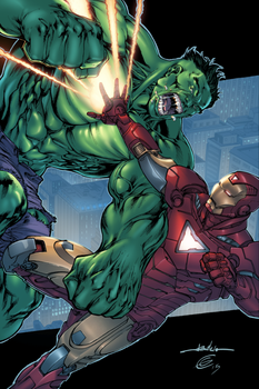 Iron Man vs Hulk by EagleGosselin