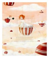 tea party in the sky- cocinando-colores by childrensillustrator